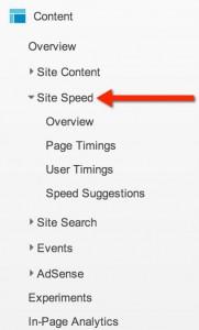 site speed in Google analytics