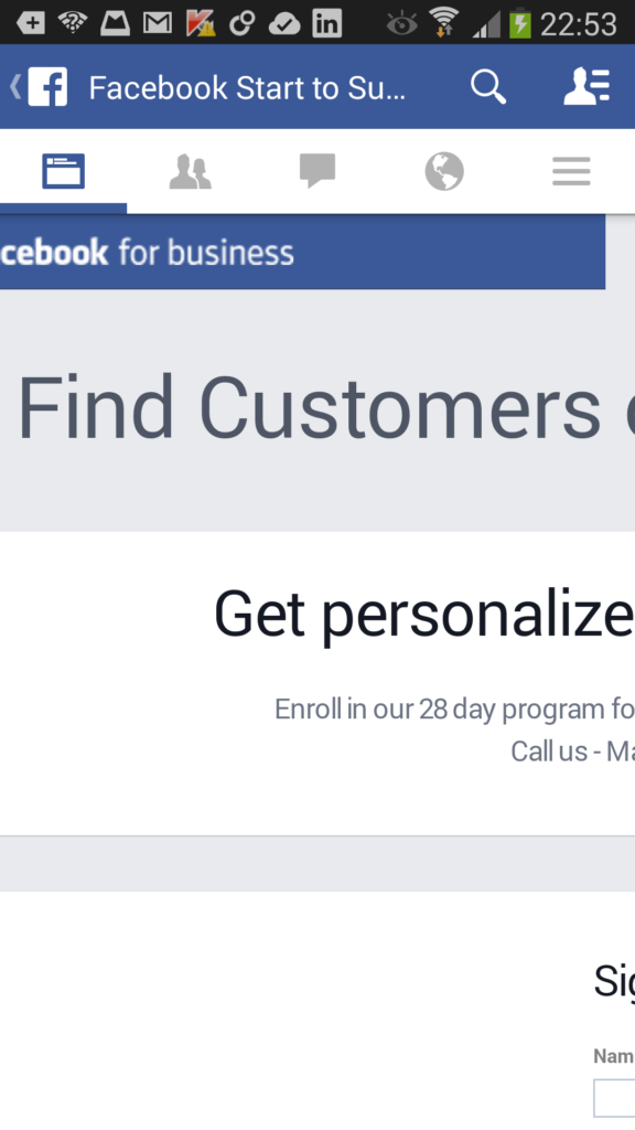 facebook for business sign up page on android