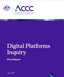 Digital platform inquiry by Australia Competition and Consumer Commission