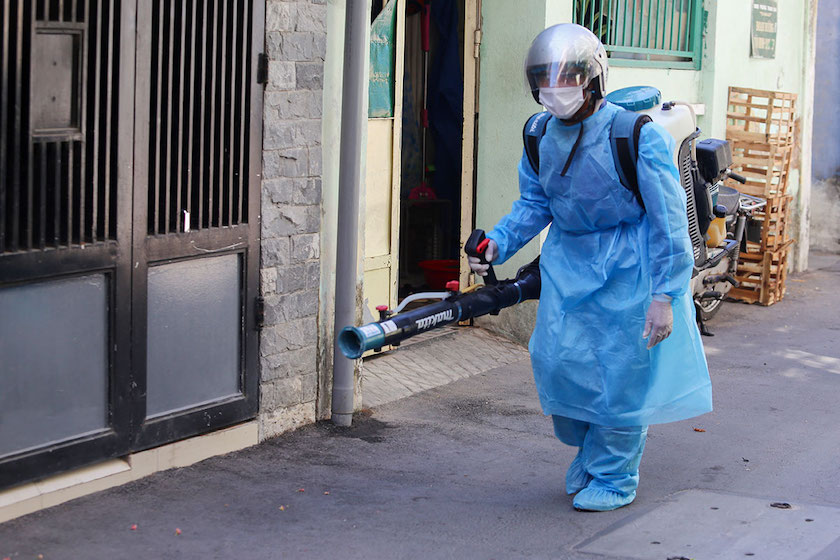 disinfected procedure at the road outside patient 418 house in Da Nang Vietnam 26 Jul 2020