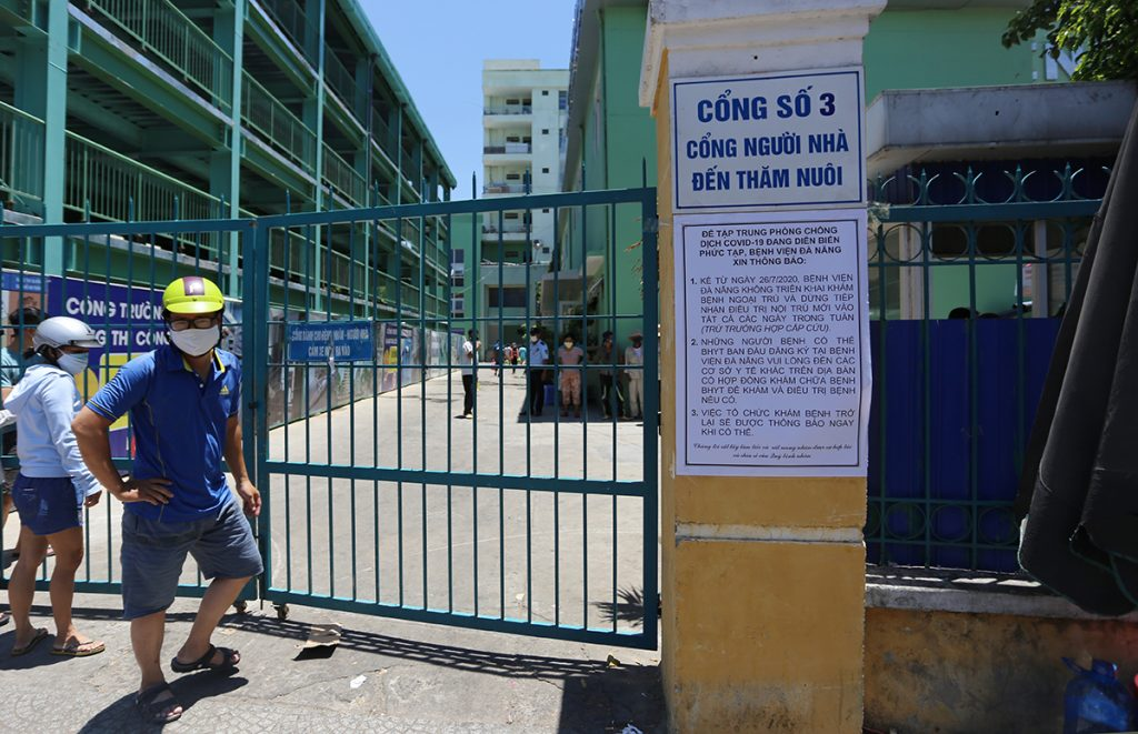 isolation notice in front of Da Nang hospital Vietnam gate number 3 26 Jul 2020