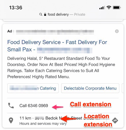 mobile sem ad with call extension and location extension jul 2020